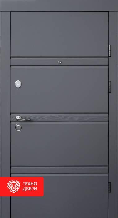 Дверь МДФ внутри, снаружи металл рис. Полосы, 10005 внешняя сторона