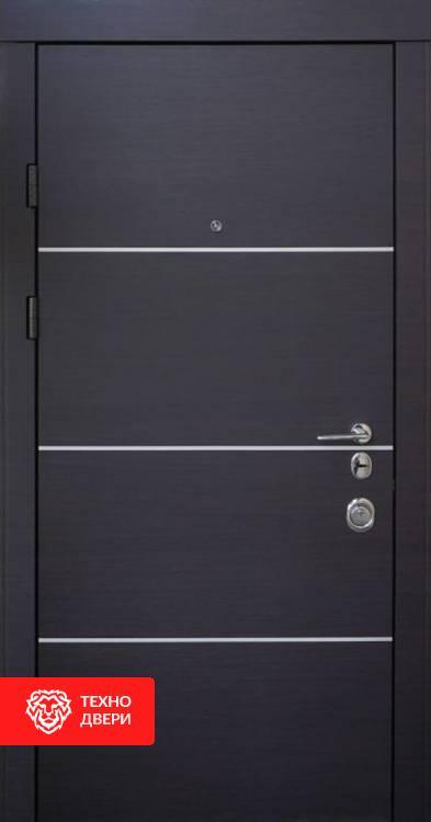 Дверь черный с белым МДФ рис. Геометрия, 10004 внешняя сторона