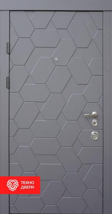 Дверь серая с МДФ «Соты», 10002 внешняя сторона