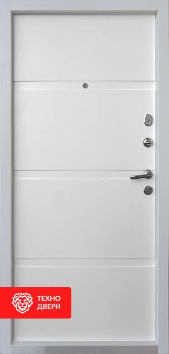 Дверь МДФ внутри, снаружи металл рис. Полосы, 10005 внутреняя сторона