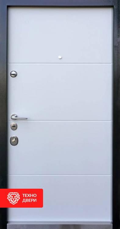 Дверь черный с белым МДФ рис. Геометрия, 10004 внутреняя сторона