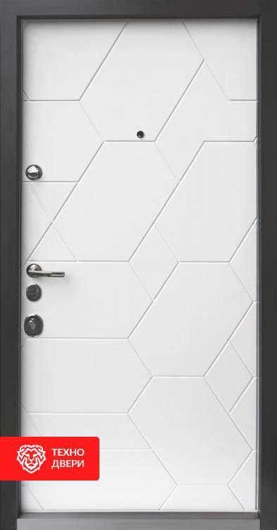 Дверь серая с МДФ «Соты», 10002 внутреняя сторона