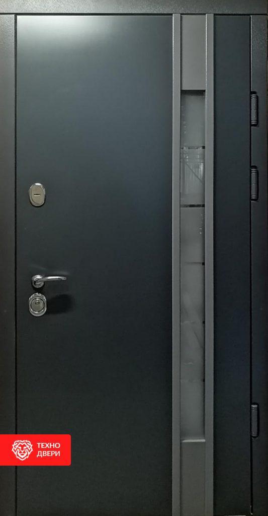 Дверь темно-серая со стеклопакетом, 254165