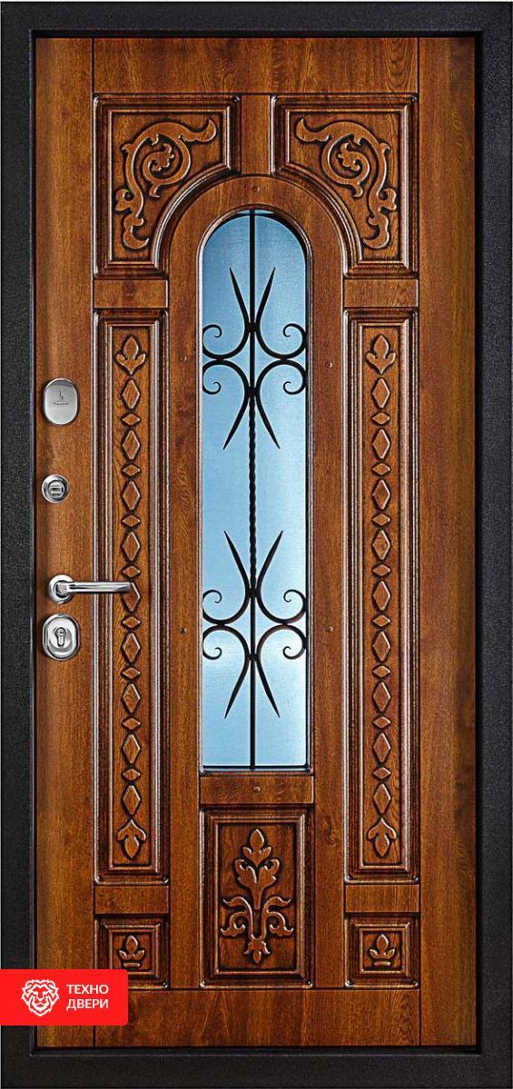 Дверь с терморазрывом и ковкой с резным узором Классик Премиум, 276758 внешняя сторона