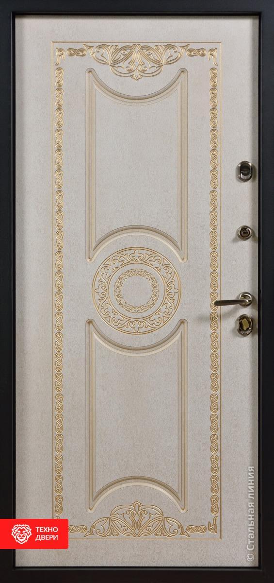 Дверь с терморазрывом темно-коричневый / МДФ фрезерованная патина и лак, 27656 внутреняя сторона