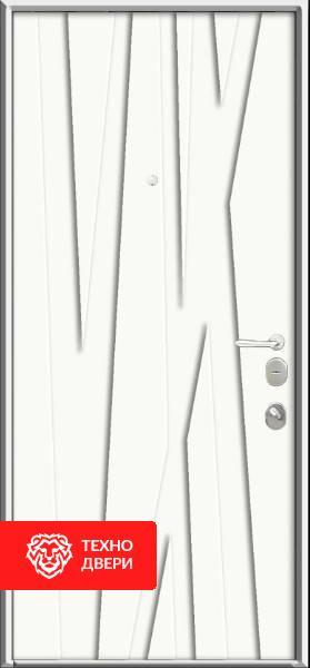 Дверь рис. Лес — металл напыление / МДФ белый, 22274 внутреняя сторона