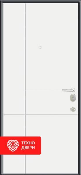 Дверь МДФ Чёрная с линиями / Белая с линиями, 22273 внутреняя сторона