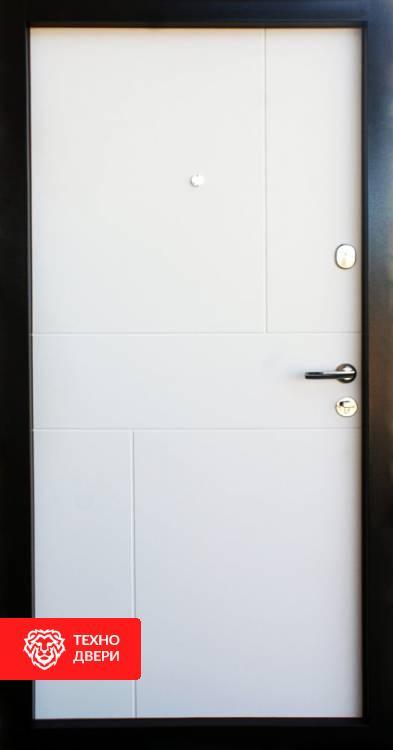 Дверь МДФ Горизонтали белый и темный, 10008 внутреняя сторона