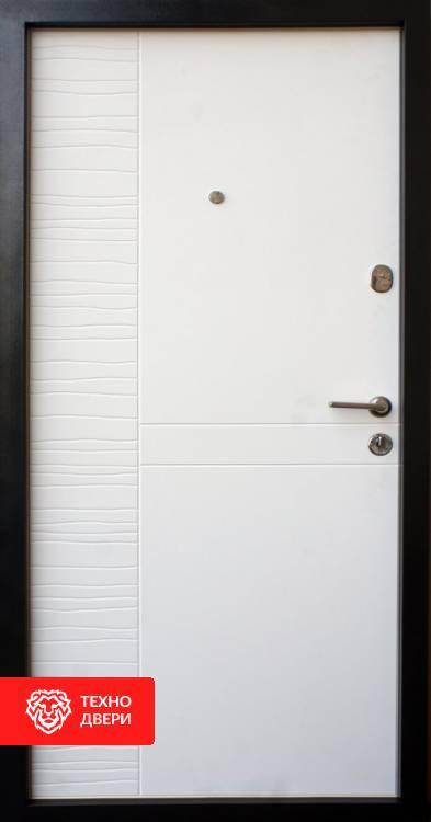 Дверь с МДФ серо-белая рис. Экзотик, 10012 внутреняя сторона