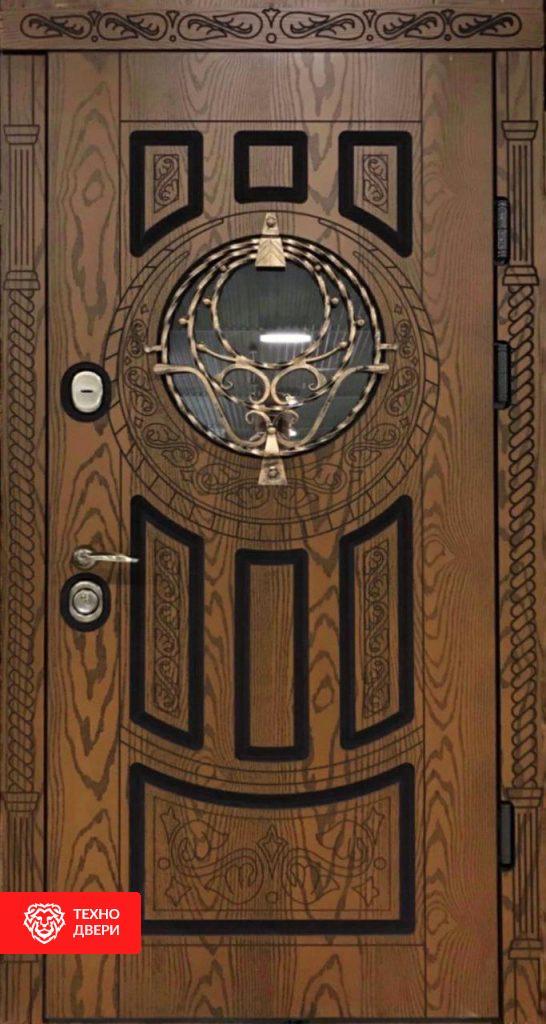 Дверь с ковкой и рисунком под дерево терморазрыв, 27000