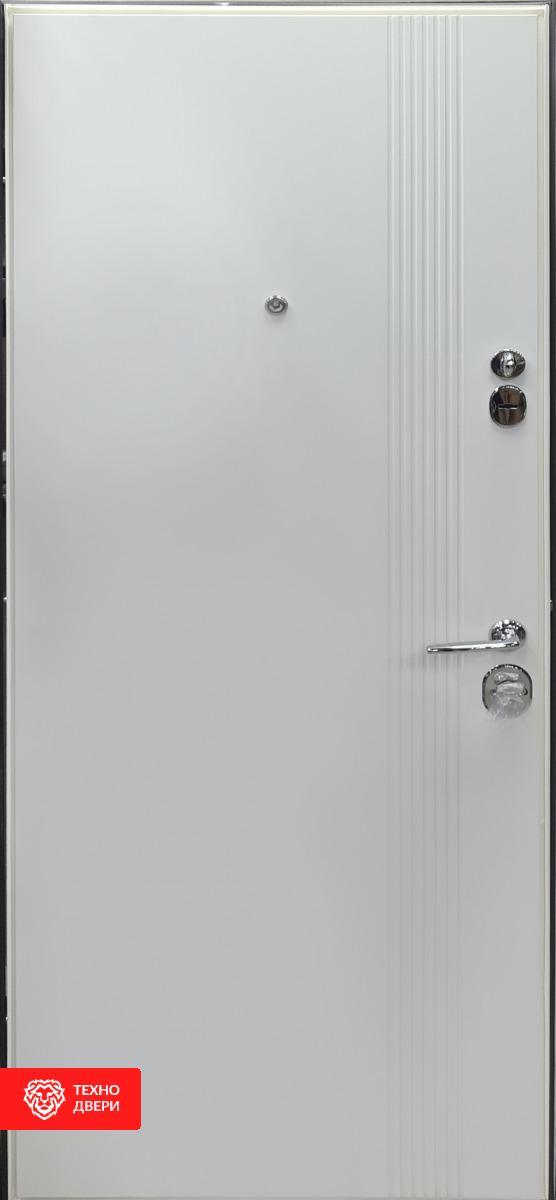 Дверь метал графит матовый/ МДФ белый супермат, 27862 внутреняя сторона