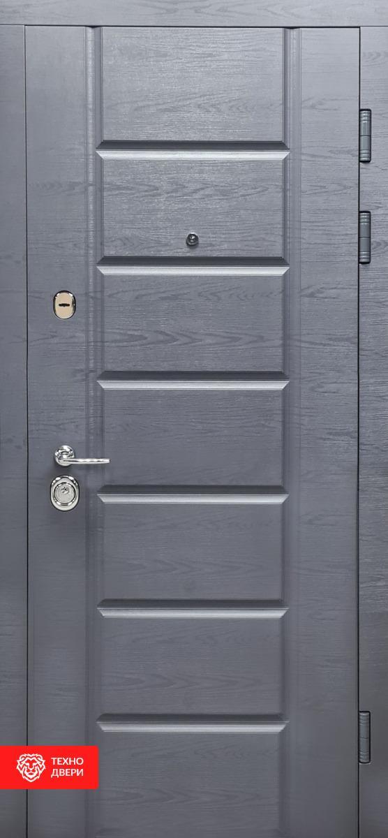 Двери МДФ Модерн Дуб рифель горизонт / Дуб пломбир горизонт, 27865 внешняя сторона