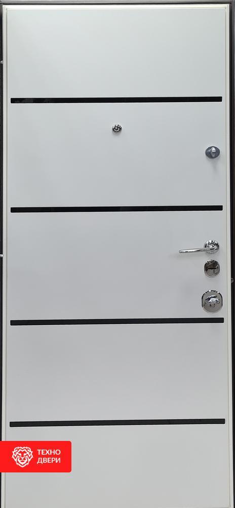Дверь Модерн металл серая шагрень / Белый супермат, 27870 внутреняя сторона