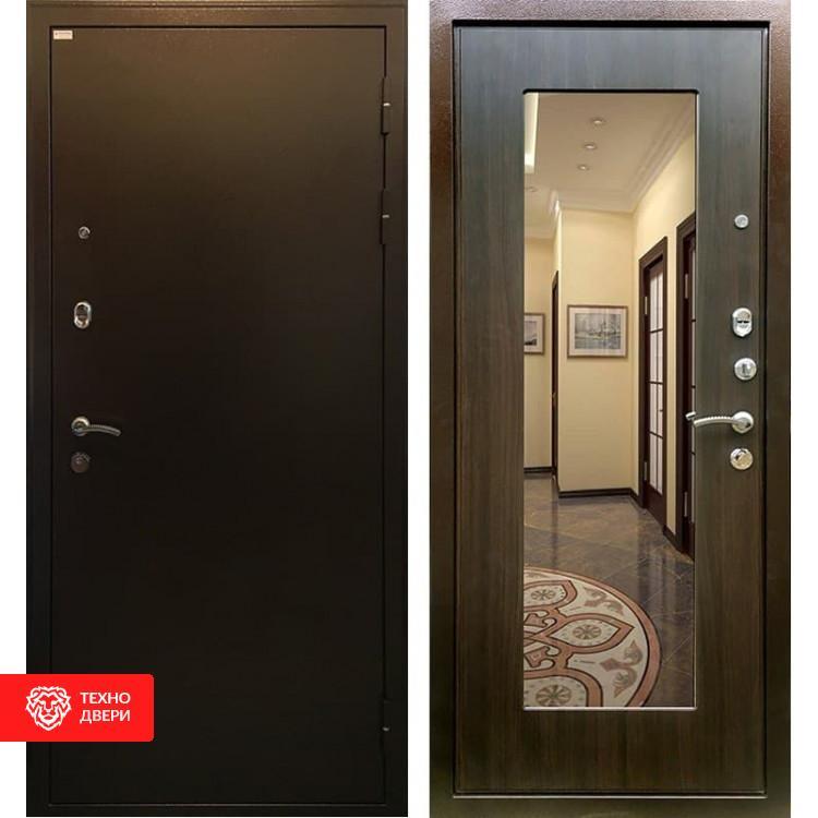 Входная металлическая дверь с зеркалом ЭкоВенге, 3819