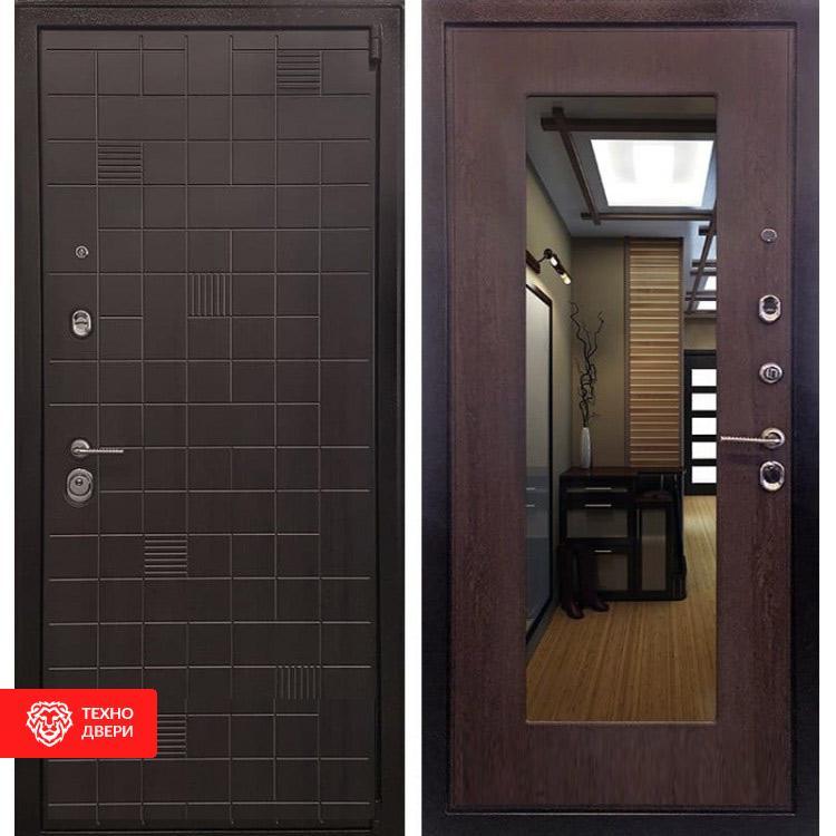 Входная металлическая дверь с зеркалом ЭкоВенге / Венге капучино Винорит, 3850