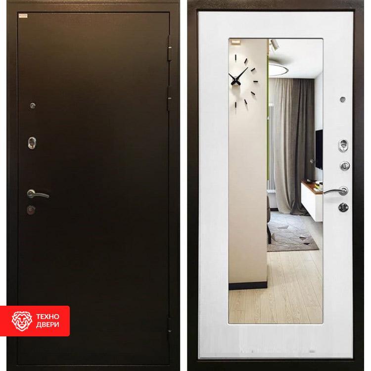 Входная металлическая дверь с зеркалом Ясень белый, 3854