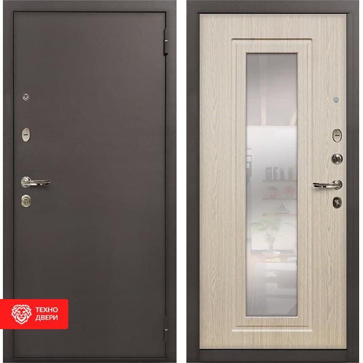Входная стальная дверь с зеркалом Дуб беленый, 4193