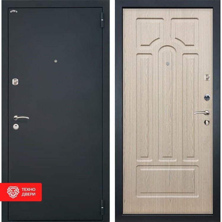 Входная стальная дверь Шагрень черная / Беленый дуб, 2892