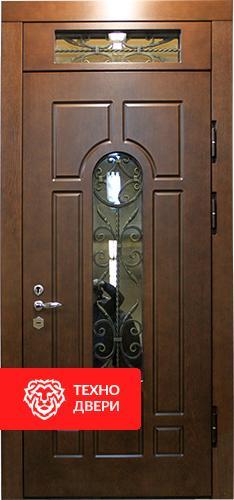Стальная дверь с отделкой МДФ со стеклом и ковкой, С-18