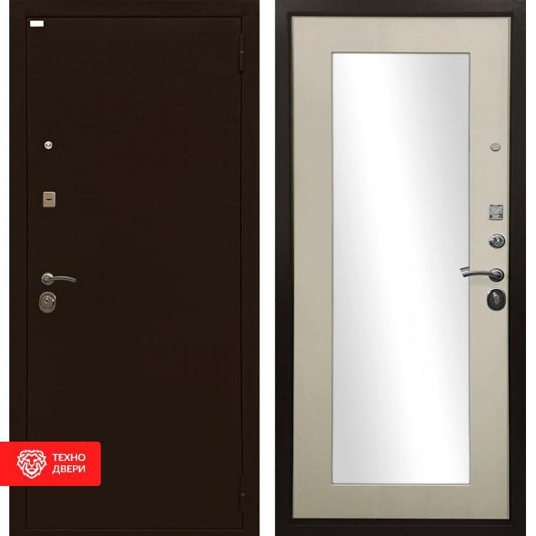 Входная металлическая дверь с зеркалом Медный антик / Лиственница беж, 4892