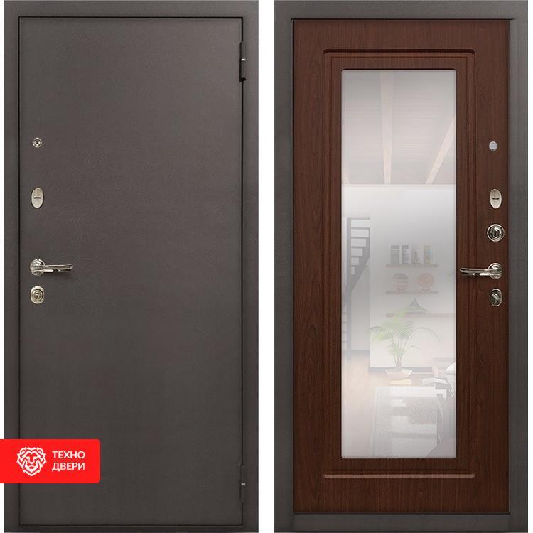Входная стальная дверь с зеркалом Дуб беленый, 5323
