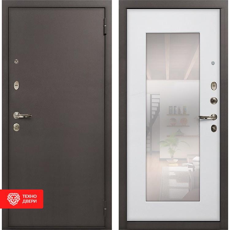 Входная стальная дверь с зеркалом Ясень белый, 5325