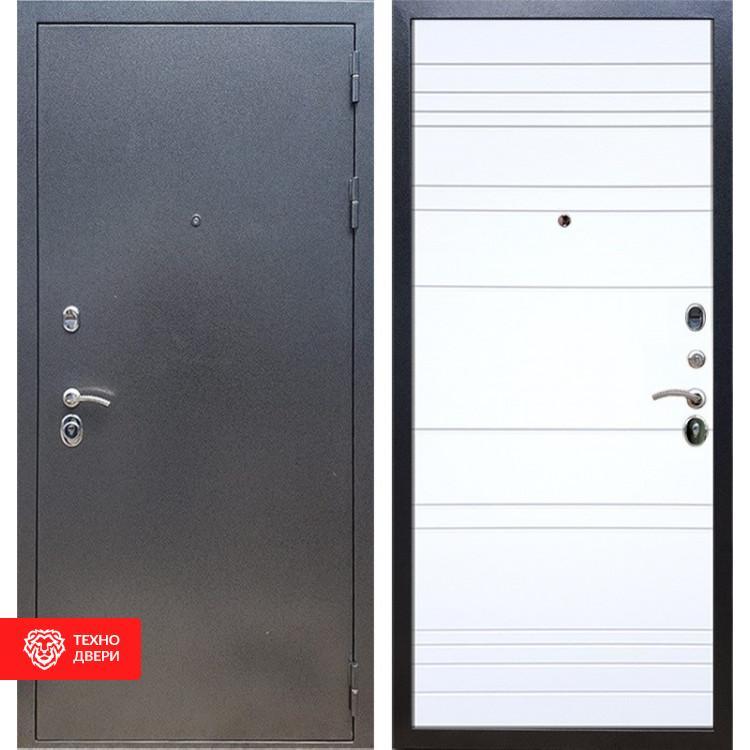 Входная стальная дверь Антик серебро / Белый матовый, 16627