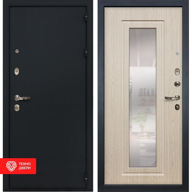 Входная металлическая дверь  с зеркалом Дуб беленый, 4179