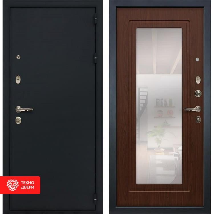 Входная металлическая дверь с зеркалом Береза мореная, 5609