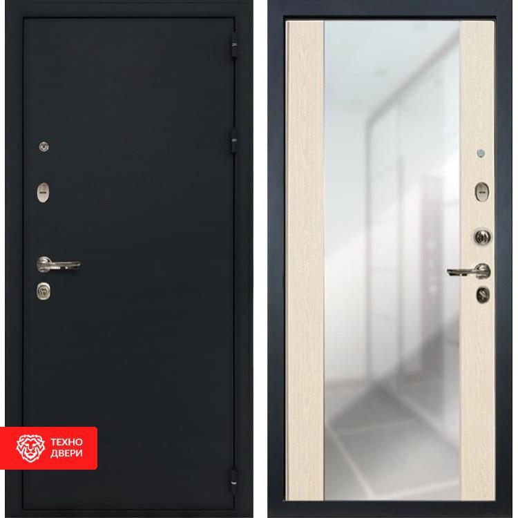 Входная металлическая дверь с зеркалом Дуб беленый, 4908