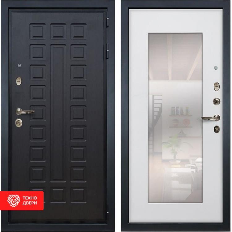 Входная металлическая дверь с зеркалом Ясень белый, 3577