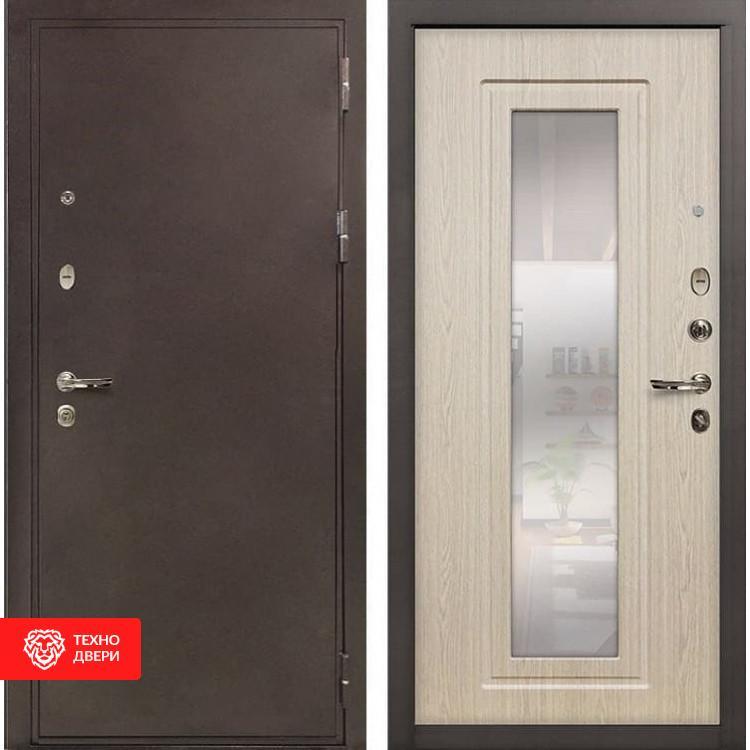 Входная металлическая дверь с зеркалом Дуб беленый, 4038