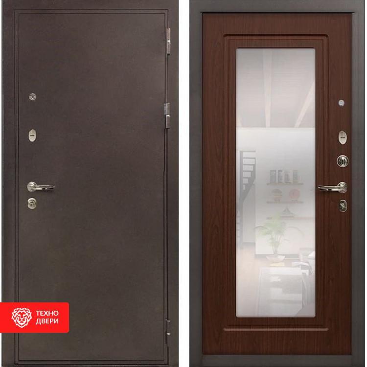 Входная металлическая дверь с зеркалом Береза мореная, 5724