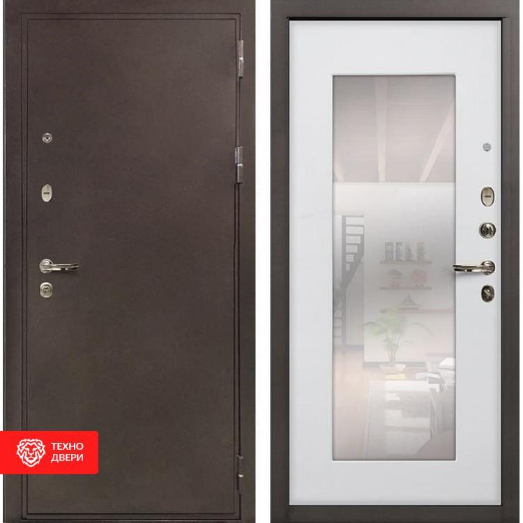 Входная металлическая дверь с зеркалом Ясень белый, 5725