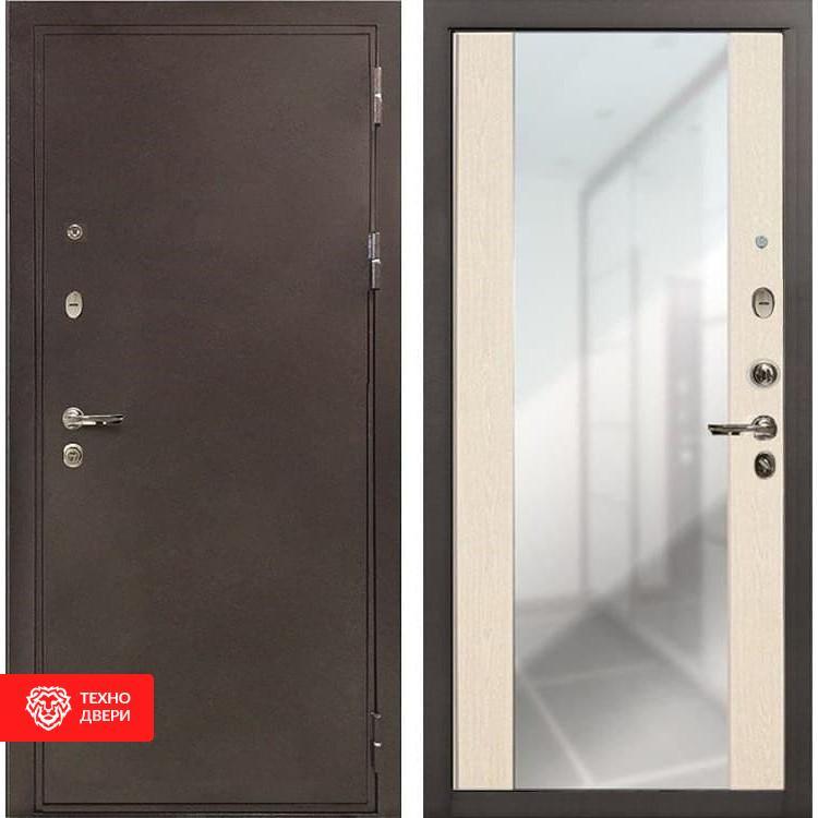 Входная металлическая дверь с зеркалом Беленый дуб, 4906
