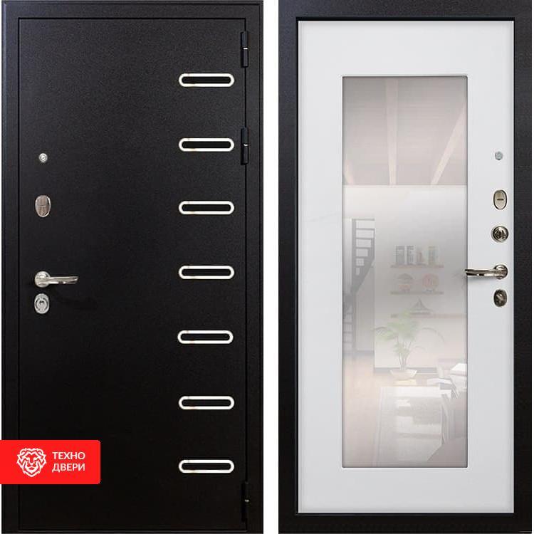 Входная металлическая дверь с зеркалом Ясень белый, 3574