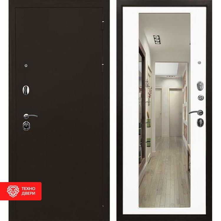 Входная металлическая дверь с зеркалом Белый матовый, 6075