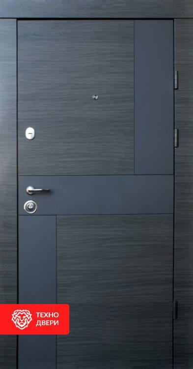 Дверь МДФ Горизонтали белый и темный, 10008 внешняя сторона
