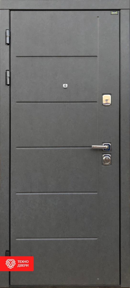 Дверь с терморазрывом темно-серыйк / МДФ под массив, 27658 внешняя сторона