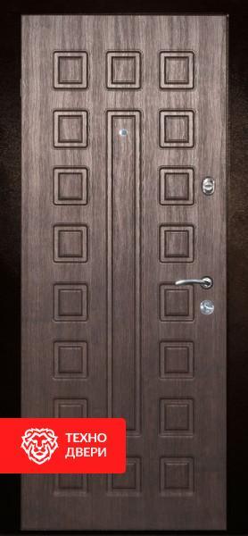 Дверь с терморазрывом МДФ серый линии / МДФ белый, 276882 внешняя сторона