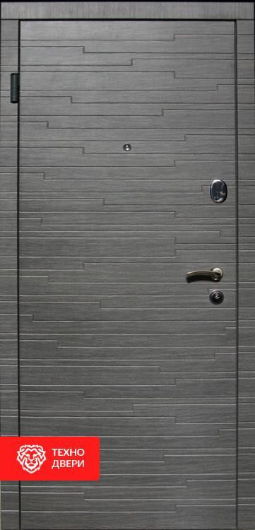Дверь МДФ серые накладки рис. Горизонт, 10015 внешняя сторона