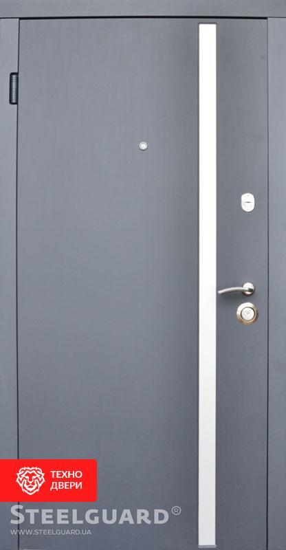 Дверь металл серый декор лакобель / МДФ белый, 27281 внешняя сторона