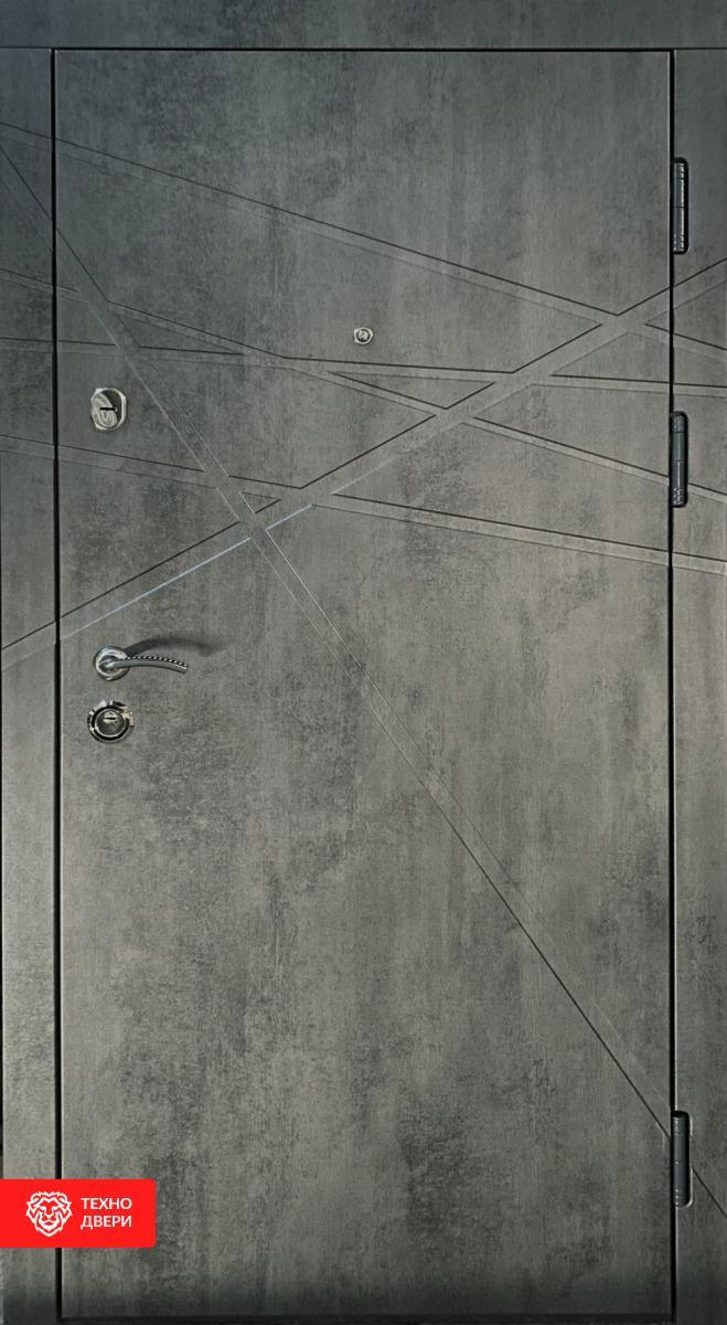 Дверь в цвет тёмного бетона с линиями, 27849 внешняя сторона