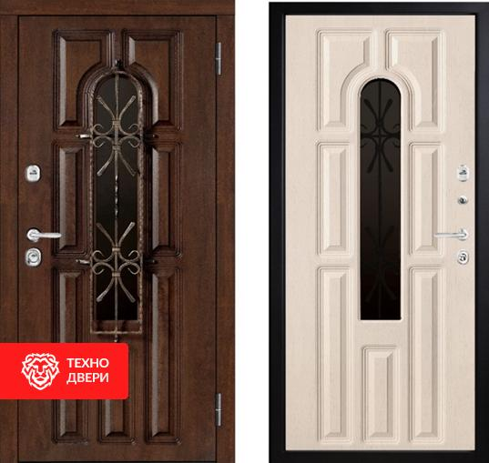 Дверь венге и белая МДФ со стеклом и ковкой, 28094
