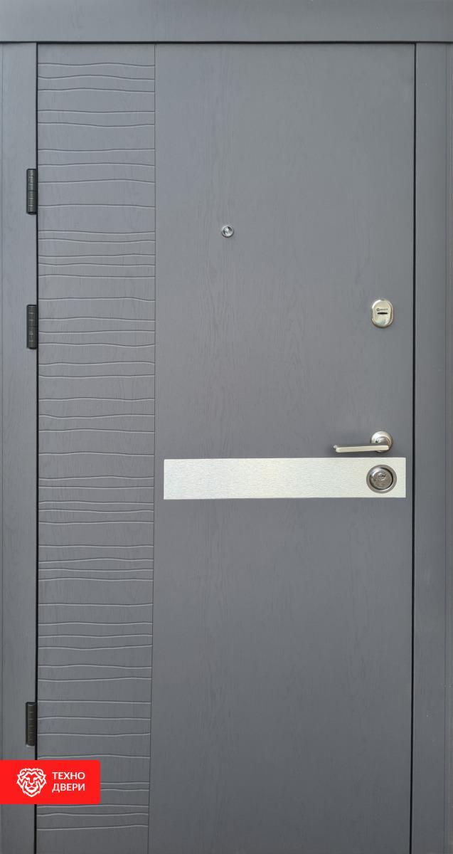 Дверь с МДФ серо-белая рис. Экзотик, 10012 внешняя сторона
