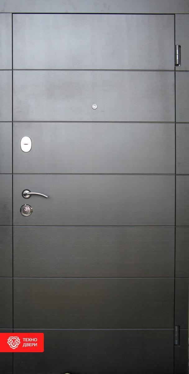 Дверь напыление с белым МДФ рисунок Геометрия, 10025 внешняя сторона