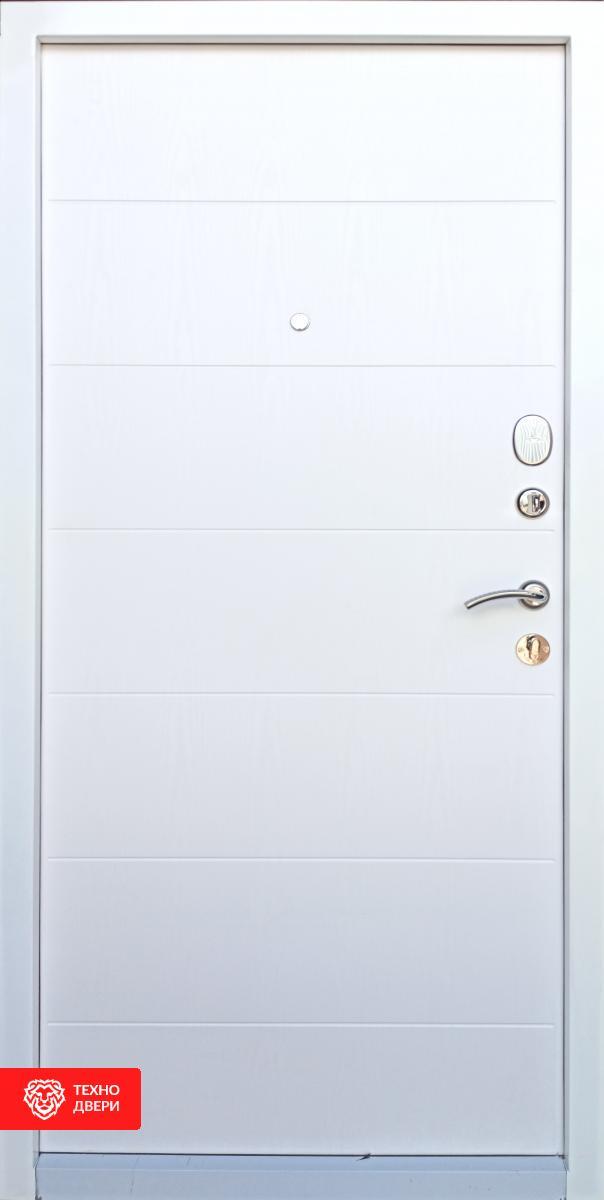 Дверь напыление с белым МДФ рисунок Геометрия, 10025 внутреняя сторона
