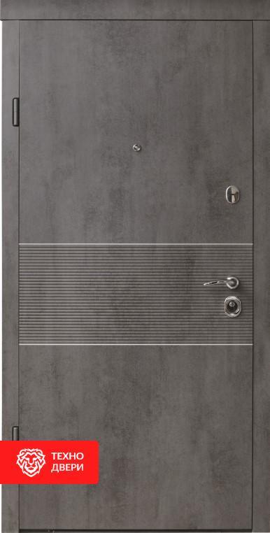 Дверь МДФ Бетон медный / Бетон серый, 26462 внешняя сторона