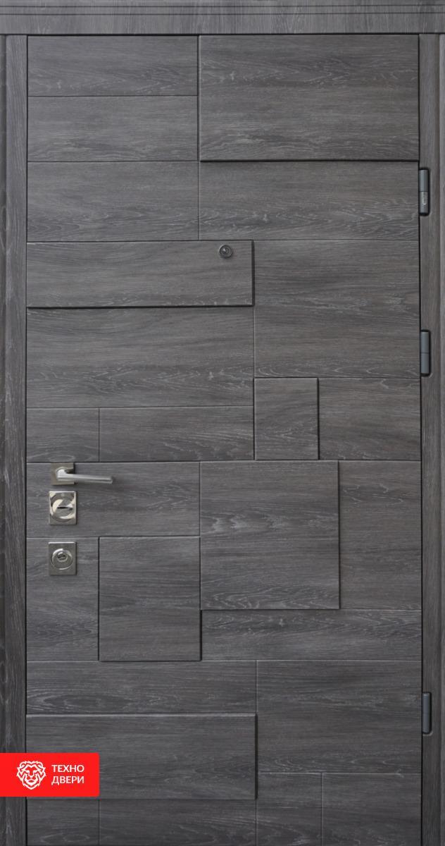 Дверь МДФ графит рисунок Тетрис, 10025 внешняя сторона