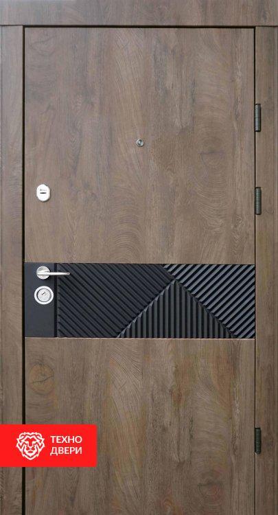 Дверь ламинация спил дерева Коньячный декор металл, 24151 внешняя сторона